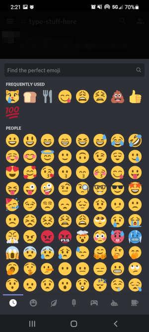 Discord Mobile App Emojis in Reaction Menu