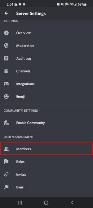 Discord Mobile App Members in Server Settings