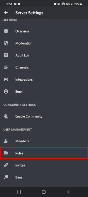 Discord Mobile App Roles in Server Settings