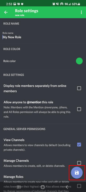 Discord Mobile App Save Icon on New Role Screen