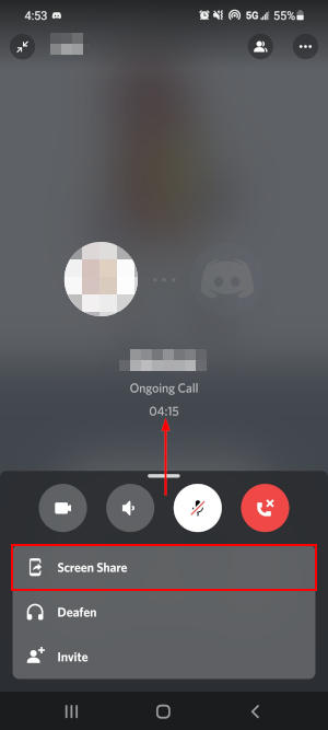 Discord Mobile App Screen Share Option in Private Call