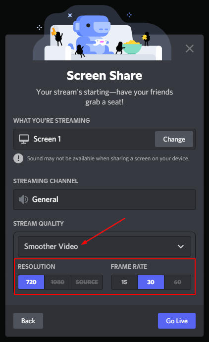Discord Stream Quality Resolution and Framerate in Screen Share Window