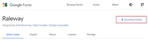 Download Font Button on Google Fonts Raleway Font