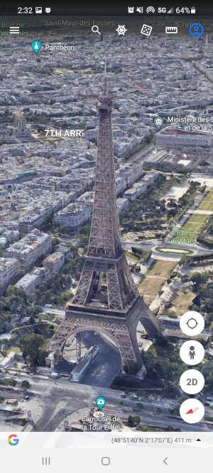 Google Earth Mobile App Eiffel Tower in 3D