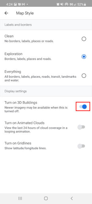 Google Earth Mobile App Turn on 3D Buildings Toggle