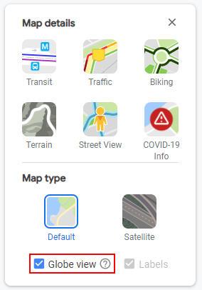 Google Maps Globe View in Layers Menu