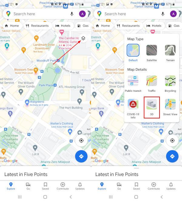 Google Maps Mobile App 3D View in Layers Menu