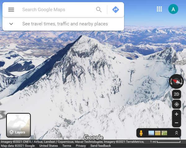 Google Maps Mount Everest in 3D