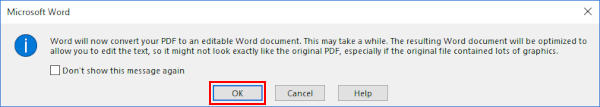 Microsoft Word 365 Convert from PDF Information Message Box