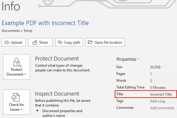 Microsoft Word 365 Title Metadata Field in File Properties