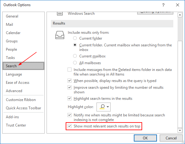 Outlook 365 Disable Top Results Checkbox in Search Settings