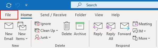 Outlook 365 File Tab