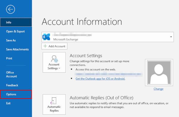 Outlook 365 Options in File Menu