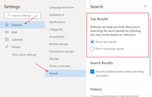 Outlook for the Web Top Results Location in Settings
