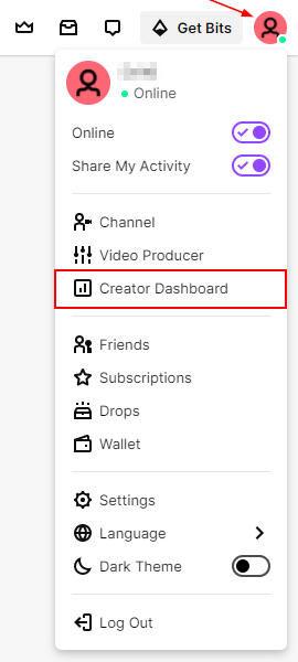 Twitch Creator Dashboard in Avatar Menu