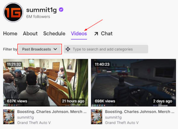 Twitch Past Broadcasts Filter Under Vidoes Tab on Sumit1g Channel