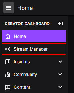 Twitch Stream Manager in Creator Dashboard