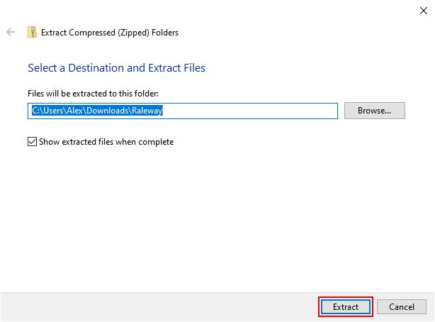 Windows 10 Extract Button in Extract Zip Window