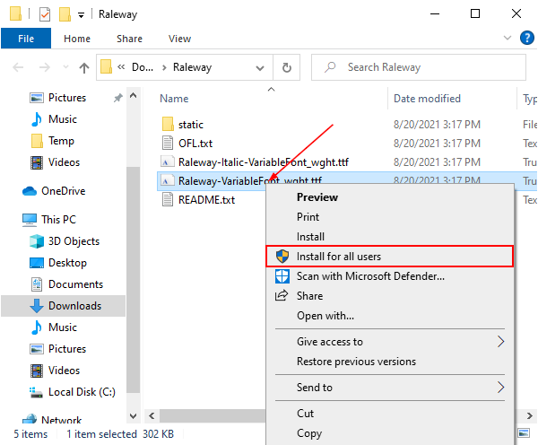 Windows 10 Install for All Users on Font File Right Click Menu
