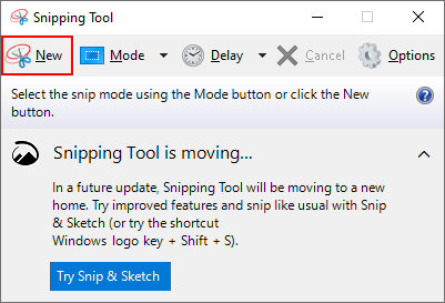 Windows 10 New Button in Snipping Tool