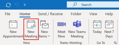 Outlook 365 New Meeting Button on Calendar