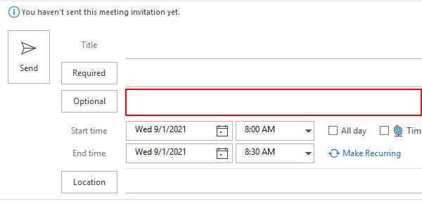 Outlook 365 Optional Attendees Field in New Meeting Window