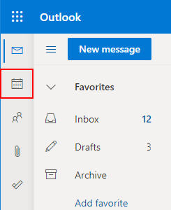 Outlook for the Web Calendar Icon in Left Menu