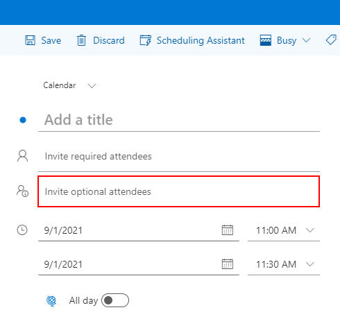 Outlook for the Web Optional Attendees Field in New Calendar Event Window