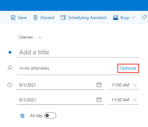 Outlook for the Web Optional Button on New Calendar Event Window