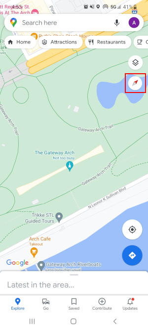 Rotated Google Maps App with Compass Highlighted