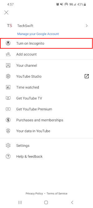 YouTube Mobile App Turn on Incognito Option in Avatar Menu
