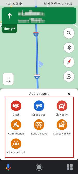 Google Maps Mobile App Add a Report Menu