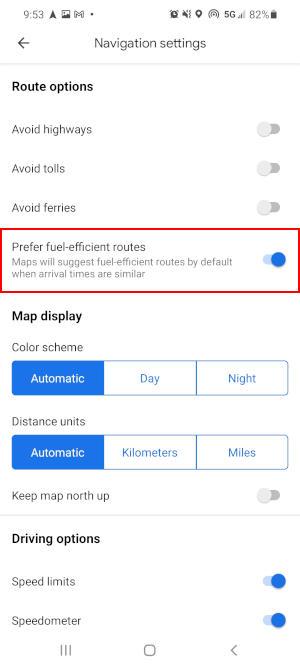 Google Maps Mobile App Prefer Fuel Efficient Route in Navigation Settings