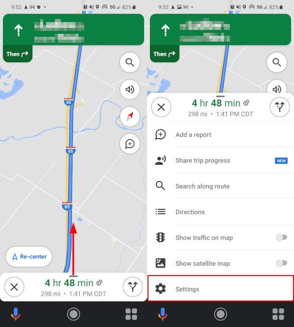 Google Maps Mobile App Settings in Bottom Navigation Panel Menu