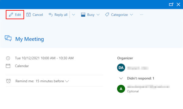 Outlook 365 Web Edit Button in Meeting Details Window