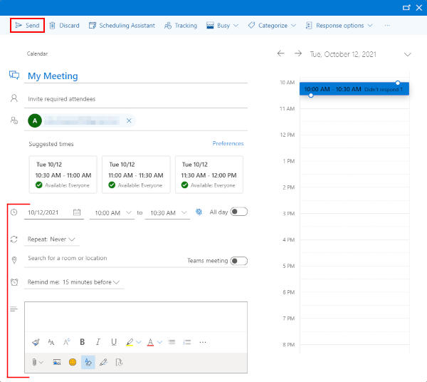 Outlook 365 Web Save Button on Reschedule Meeting Screen