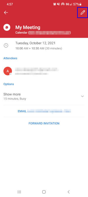 Outlook Mobile App Edit Icon in Meeting Details Screen