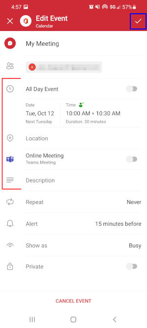 Outlook Mobile App Save Checkmark Icon on Reschedule Meeting Screen