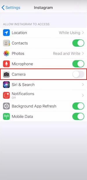 iPhone Camera Permission in Instagram App Settings